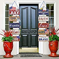 Americana 4th of July Party Banner Red White Blue Hanging Sign Patriotic Party Decoration