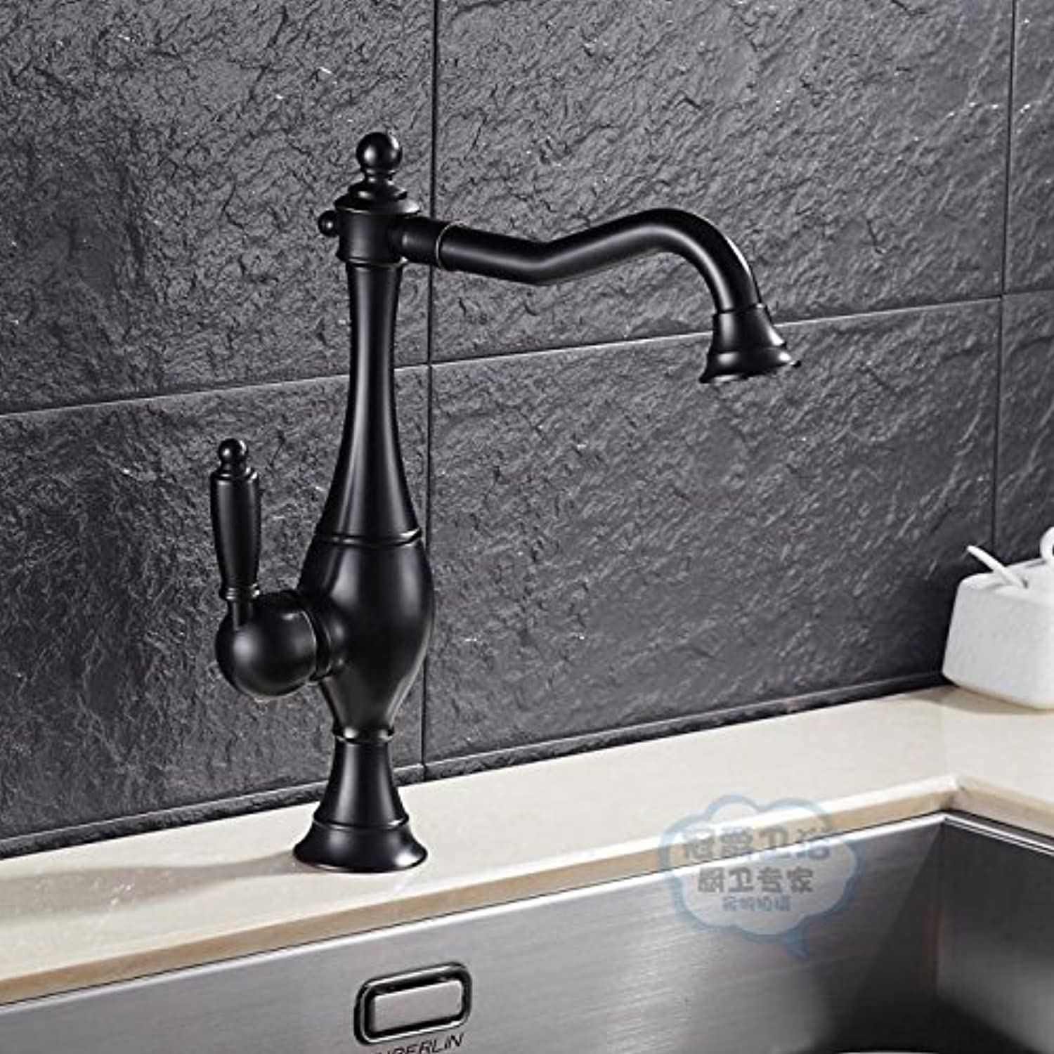 Fbict All Copper Black European Antique Retro hot and Cold Water Single Handle redating wash Basin Basin wash Basin Faucet for Kitchen Bathroom Faucet Bid Tap