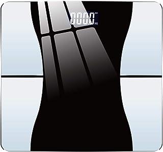 La grasa corporal báscula de peso de precisión de baño báscula de casa bluetooth grasa corporal de vidrio inteligente de baño balanza digital personal artículos del hogar Negro-usbcharge