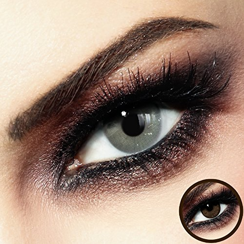Farbige PREMIUM Kontaktlinsen - Baracuda Gray - Silikon Hydrogel ohne Stärke: - 0.00 DPT (!Auswahl! MIT und OHNE Stärke) - Monatslinsen von LUXDELUX® + GRATIS BOX