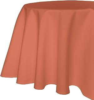 Nappe de Table de Jardin Aspect Lin Effet Lotus - Tissu Anti-Taches Infroissable - 160 cm - Ronde - Terre Cuite