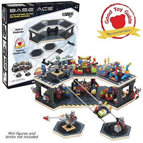 Base Ace 3D-Spielplattform für Mini-Figuren, EVO-Kit mit blauen Linien, kompatibel mit Allen führenden BAU-Spielzeug-Bausteinmarken