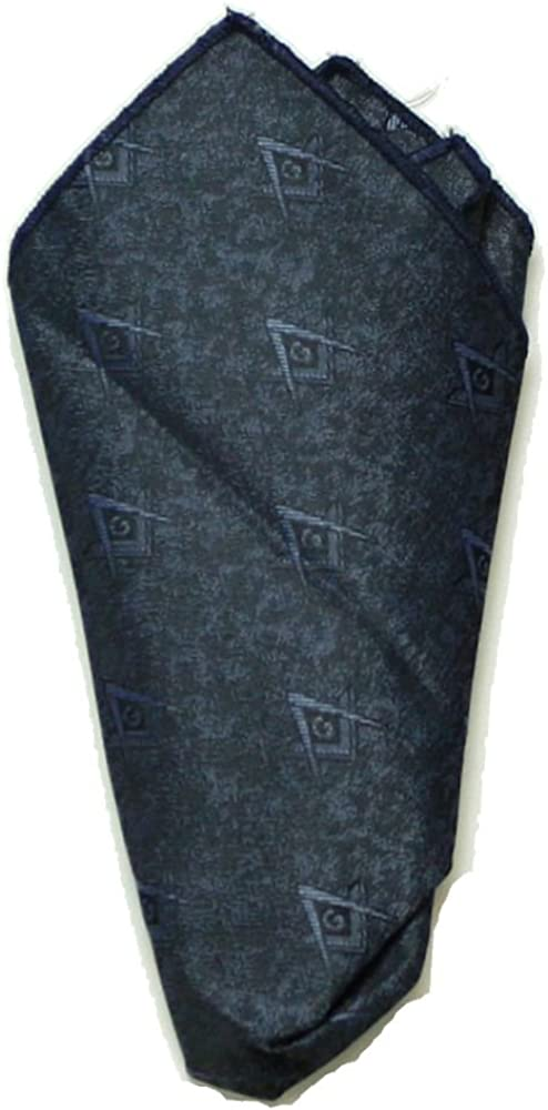 Masonic Pocket Square Royal Blue Brocade Fabric Square and Compasses Woven In