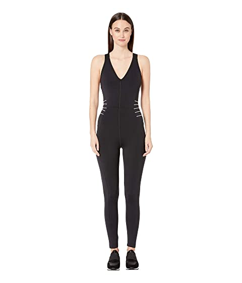 Cushnie Fitted Deep V Jumpsuit with Tipped Elastic Straps