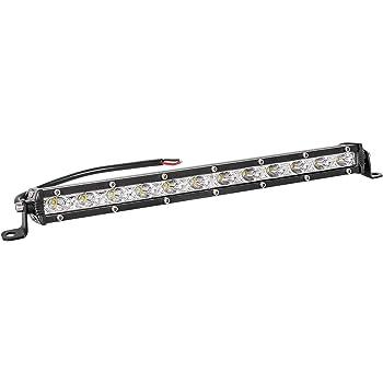 Zmoon Led Light Bar 14in Signal Row Light Bar 80W 8000lm Spot Flood Combo Off Road Light, Waterproof Slim Light Bar for SUV Jeep ATV Boat