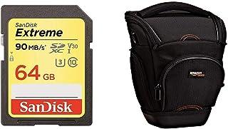 SanDisk Extreme - Tarjeta de Memoria SDXC (64 GB Velocidad hasta 90 MB/s Class 10 y U3 y V30) + AmazonBasics - Funda para cámara de Fotos réflex Color Negro