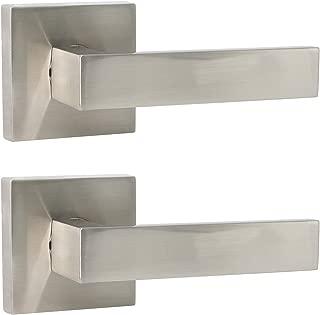 Probrico 2 Pack Door Handles in Satin Nickel, Half Dummy Levers Non-Locking Function Door Levers Lock Set,Square Bar Modern Style,Single Dummy,Universal Handing,Heavy Duty