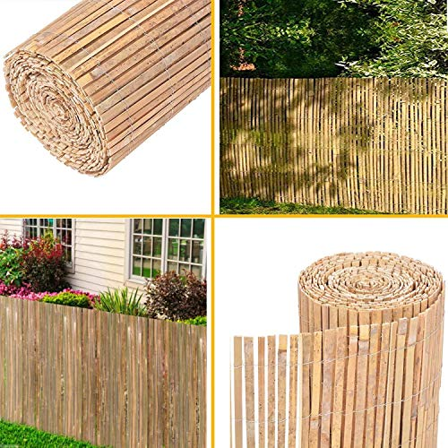 Ghega Natural Split Bamboo Slat Screening Fence Garden Panel Privacy Roll Outdoor Protection Panel Border Divider Wind/Sun Protection (1M x 3M)