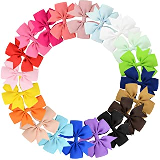 PALAY® 20 Pcs 3 inch Grosgrain Ribbon Baby Girls Hair Bows Alligator Clips Hair Accessories for Infants Toddlers Kids Teens