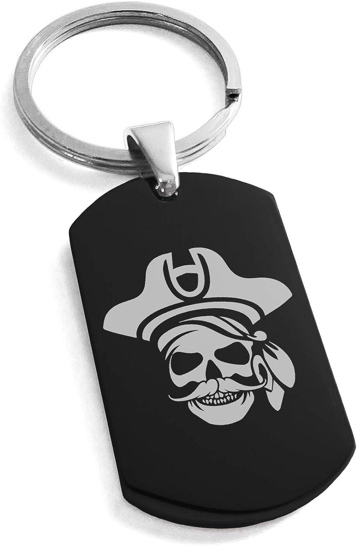 Tioneer Stainless Steel Sea Dog Pirate Skull Emblem Dog Tag Keychain Keyring