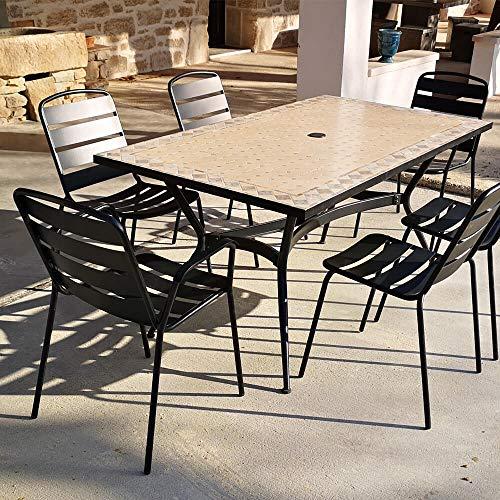 iD FOR YOU 4 sillas + 2 sillas + mesa recta Zelie 160 x 90 cm con bandeja de Mosaico, pie de metal con agujero sombrilla