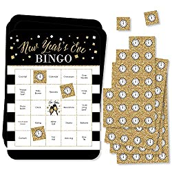 black bingo cards with gold clocks to cover the places