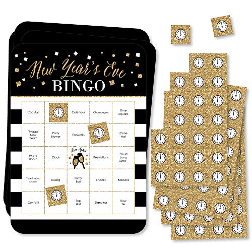 Big Dot of Happiness New Year's Eve - Gold - Bar Bingo Cards and Markers - New Years Eve Party Bingo Game - Set of 18