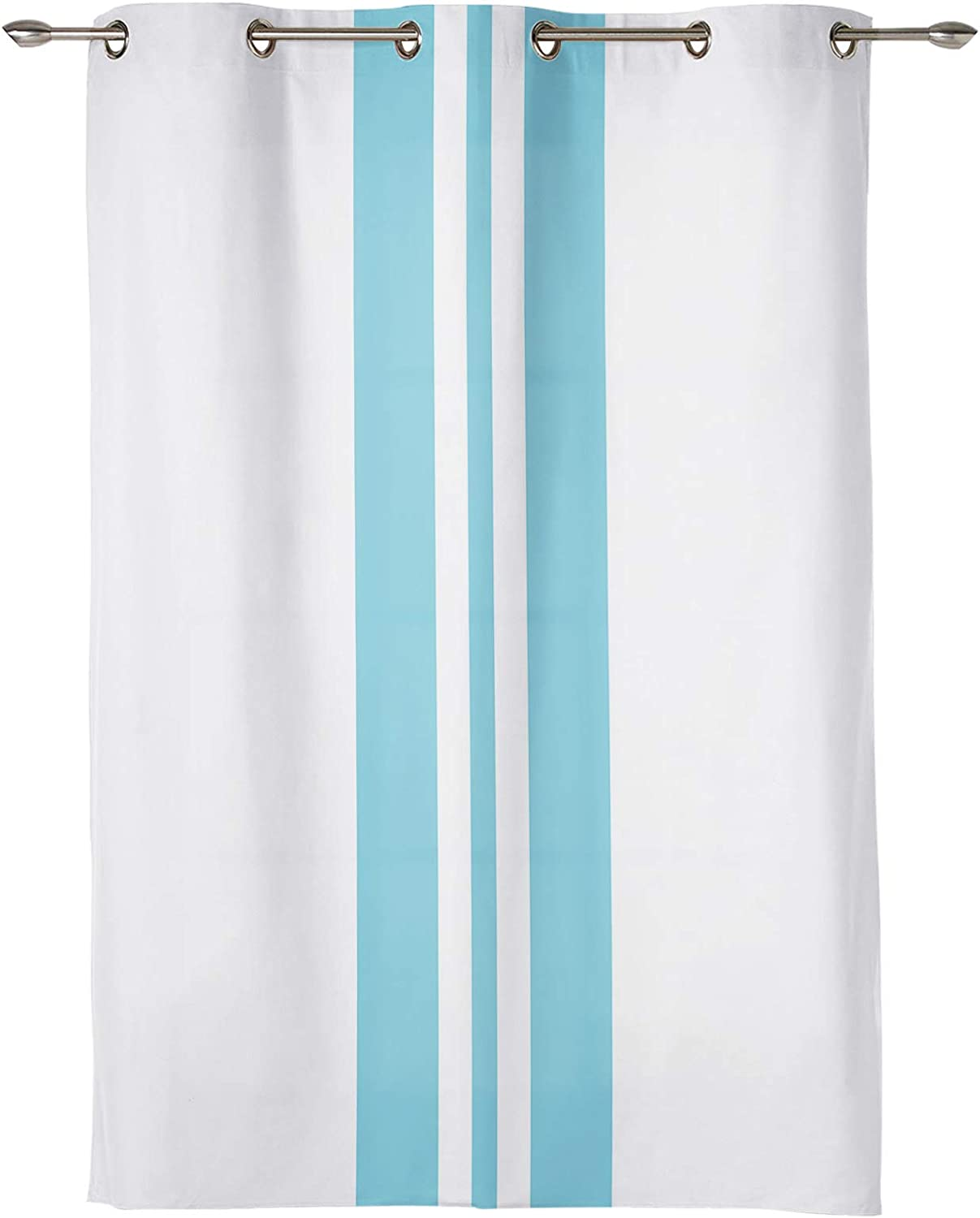 EZON-CH Window Curtain with Grommet Blue Stripes Rare Holiday Themed Brand new