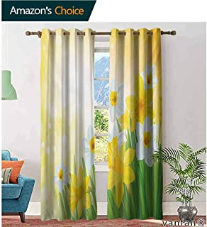 Big datastore Pattern DIY Available Curtain,DaffodilDaffodils Garden Narcissus Rebirth and New Beginnings Celebration Graphic,with Solid Grommet Top,Green Yellow White,W96 xL108