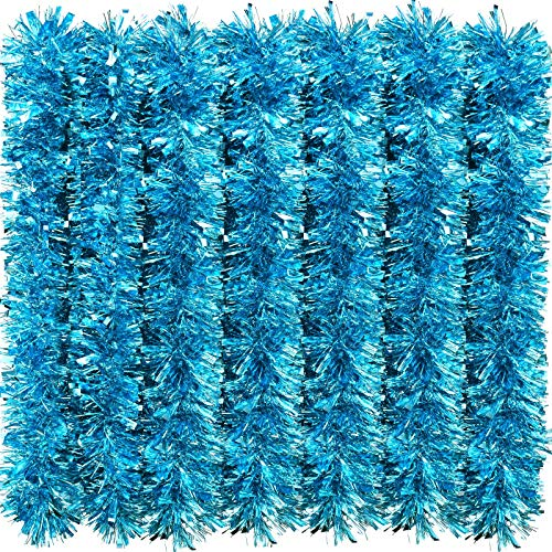 eBoot 39.4 Feet Christmas Tinsel Garland Shiny Garland Metallic Christmas Tree Garland Hanging Decorations for Christmas Party Indoor and Outdoor Decorations (Light Blue)