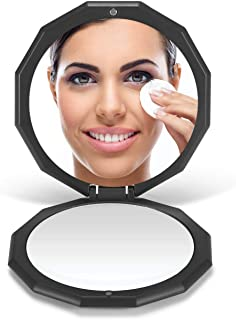 "OMIRO Compact Mirror, 3½"" 1X/10X Magnification Mini Folding Makeup Mirror for Purses (Black)"