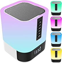 $36 » Bluetooth Speaker Night Lights, 12/24H Alarm Clock Touch Control Bedside Lamp, Dimmable Multi-Color Changing LED Table Lam...
