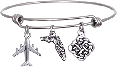 JJTZX State Bangle U.S. Map Charm Expandable Travel Bracelet Long Distance Relationship Gift Best Friends Bracelet