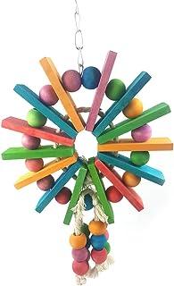 suministros di loro Bird Chew Toy di legno Corda Ciondolo Catena giocattolo della mordedura Corda di cotone di arrampicata Durable Blocco della goccia grana piccola mascotte Uccello giocare Bell Toy