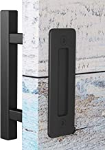 EaseLife 10 Inch Sliding Barn Door Handle,Rustic Two-Side Pull and Flush Set,Flat Back-Plate Design,Ultra Sturdy,Black,Square