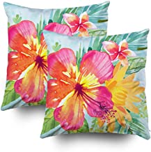 Capsceoll 2PCS tropical colorful flowers Decorative Throw Pillow Case 16X16Inch,Home Decoration Pillowcase Zippered Pillow Covers Cushion Cover Words Book Lover Worm Sofa Couch