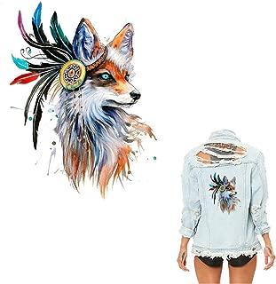 Iron on Beautiful Fox Patch Heat Transfer Applique Sticker for Men Women Boys Girls Clothes Jeans T-Shirt Coats DIY Decoration Decal