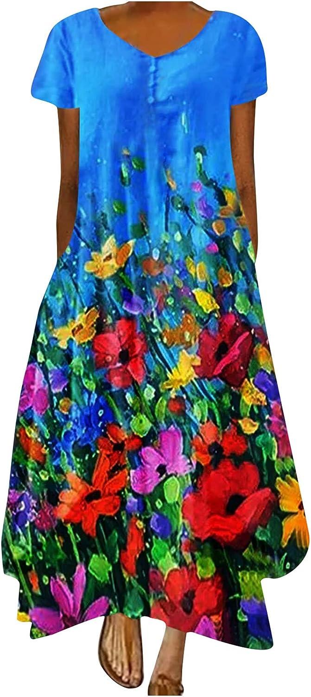 Womens Dresses, Short Sleeve Printed Long Dress, Ladies Pocket Women Fashion Casual Gradient O-Neck Plus Size Dress