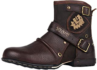 osstone Moto Botte Hommes Rivet Boot Bottes Vintage Cheville Hiver Boot Casual Cowboy Chaussures OS-5008-1-N-fr