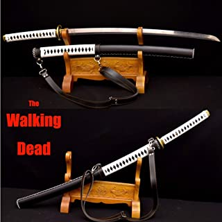 GUREN Handmade Japanese Walking Dead Swords Leather Wrapped Saya Damascus Steel - Michonne's Katana Sword Zombie Killer Sharp