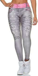 CapsA Fitness Yoga Pants for Women Slim Faux Fake Ripped Hole Jeans Leggings Stars Workout Yoga Pants