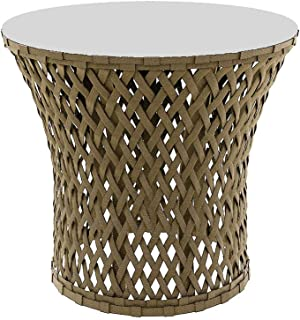 Outdoor Side Coffee Table Pool Beach Patio Tempered Glass Wicker Rope (Light Khaki)