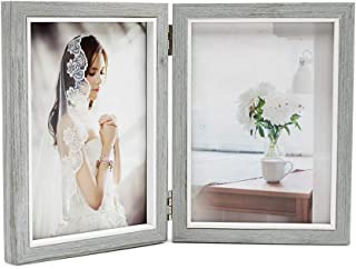 Afuly フォトフレーム 写真立て グレー 縦型 2Lサイズ シック 折りたたみ 木製 木の柄 プレゼント ギフト おしゃれ