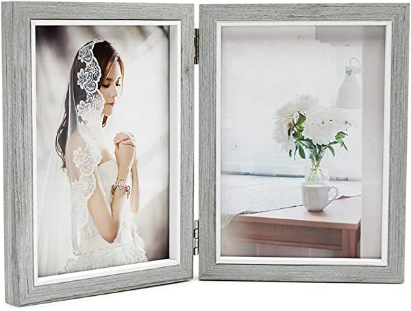 Afuly Grey Picture Frame 5x7 Double Wooden Hinged Photo Frames Folding Vertical For Table Desk Top Display