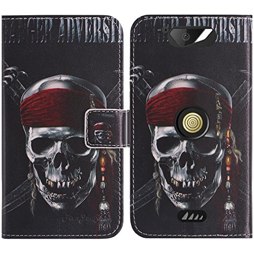 TienJueShi Totenkopf Flip Book-Style Brief Leder Tasche Schutz Hulle Handy Hülle Abdeckung Fall Wallet Cover Etui Skin Fur Crosscall Action x3 5 inch