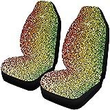 Zseeda Rainbow Glitter Background Fundas para Asientos automáticos 2 Piezas, Fundas para Asientos de automóvil Asientos Delanteros Solo Ajuste Universal