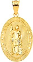 Certified 14k Gold Saint Florian Patron of Firefighters Oval Charm Pendant