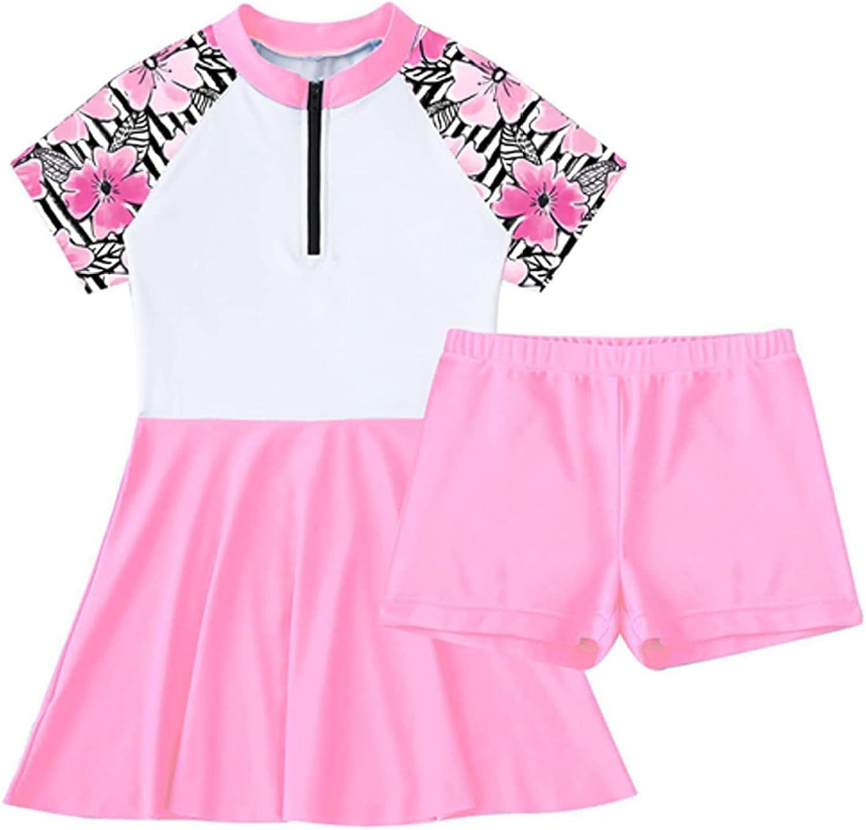 YONGHS Kids Girls 2-Piece Swimsuit Sleeve Zippe Rash Popular shop is the lowest price challenge wholesale Short Guard