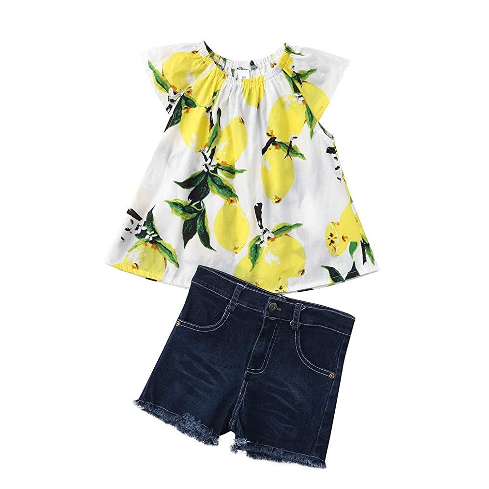 Fashion Toddler Girls Cartoon Lemon Print Fly Sleeve T-Shirt Tops+Hole Jeans Shorts Pants Beach Party Outfit Sets