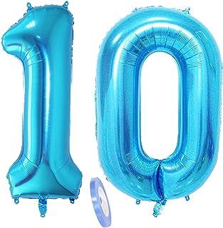 """2 Globos Número 10, Número 10 Globo Blue Girl Boy Guys, Globo inflable de papel de helio de 40 """"Figuritas de globos azules, Globo gigante para decoración de fiesta de cumpleaños Prom (xxxl 100cm)"""