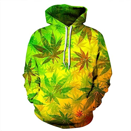 Fuxitoggo Sweats à Capuche, Nouveau Mode Hommes Femmes Sweats à Capuche 3D Imprimé Nightfall Trees Sweatshirts 3D Unisexe Maple Leaf encapuchonné sweat à capuches (Couleuré   1, Taille   XXXXL)