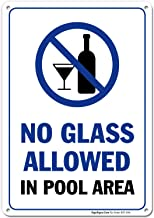 Pool Rules Sign, No Glass Allowed in Pool Area, 10x14 Rust Free Aluminum UV Printed, Easy to Mount Weather Resistant Long Lasting Ink Made in USA by SIGO SIGNS
