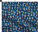 Spoonflower Stoff – Blaue ABC-Buchstaben Schule Moderne