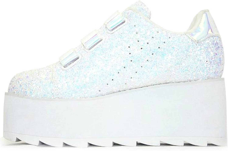 YRU 'Lala Glitter', Platform holgoram Sneaker, White