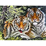 YTQQ-Animal Tiger-DIY Digital Painting for Beginners, Adult Canvas Oil Painting Set, with Brush, Paint, Acrylic Paint-40X50cm