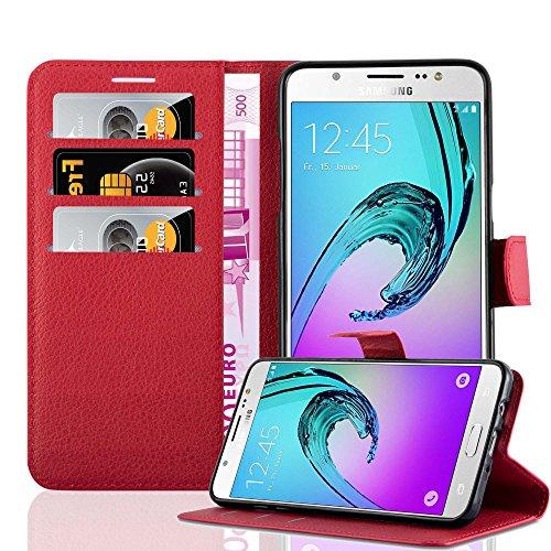 Cadorabo Funda Libro para Samsung Galaxy J7 2016 en Rojo CARMÍN - Cubierta Proteccíon con Cierre Magnético, Tarjetero y Función de Suporte - Etui Case Cover Carcasa