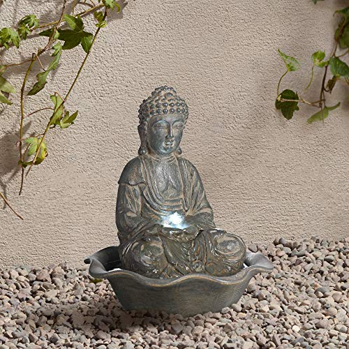 Universal Lighting and Decor Asian Zen Buddha Outdoor Water Fountain with Light LED 12' High Sitting for Table Desk Yard Garden Patio Home Relaxation - John Timberland
