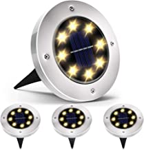 Biling Solar Disk Lights Outdoor, 8 LED Bulbs Solar Ground Lights Outdoor Waterproof for Garden Yard Patio Pathway Lawn Driveway - Warm White (4 Pack)