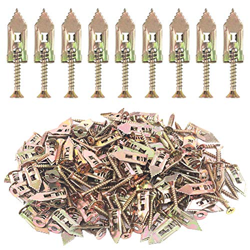 Hilitchi 200Pcs Self Drilling Drywall Anchors with Screws Easy Application No Drill or Holes in Wall, 66 Lbs (12 x 30mm-100Pcs Anchors and 100Pcs Screws)