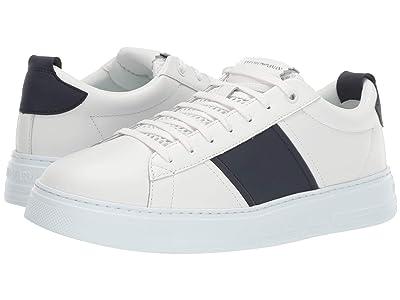 Emporio Armani Classic Stripe Sneaker (White) Men